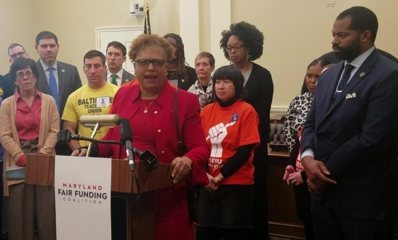 Theresa Mitchell Dudley speaks at a Jan. 15 press conference in Annapolis on proposed bills to restructure Maryland's tax code to help pay for education. (William J. Ford/The Washington Informer)