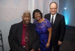From left: John Thompson Jr., former basketball coach at Georgetown University, Sandra Jackson, executive director of the House of Ruth and recipient of the 2020 John Thompson Jr. Legacy of a Dream Award, and John J. DeGioia, president of Georgetown University attend the Kennedy Center's annual Let Freedom Ring concert in honor of Martin Luther King Jr. on Jan. 20. (Courtesy of Georgetown University)
