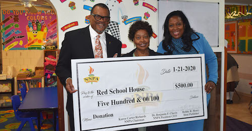 Bobby Henry, Publisher, The Westside Gazette; Ms. Gwendolyn Shaw, Owner/Director, The Red School House; and Karen Carter Richards, NNPA Chair
