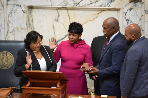 Del. Adrienne Jones (center) is officially sworn in as Maryland House speaker on Jan. 8. She is the first Black lawmaker and first woman to hold the position. (Brigette Squire/The Washington Informer)
