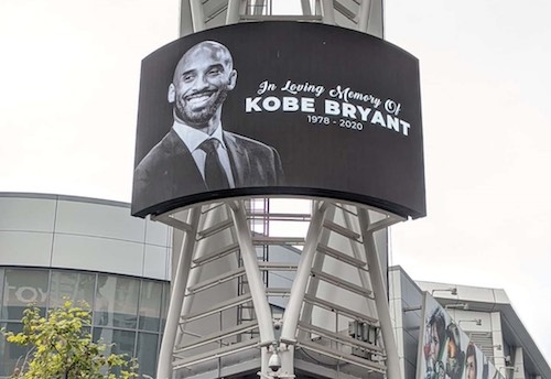 "Tributes to Kobe Bryant now stand throughout Los Angeles and outside of Staples Center — ""The House That Kobe Built."" (Anthony Tilghman/The Washington Informer)"