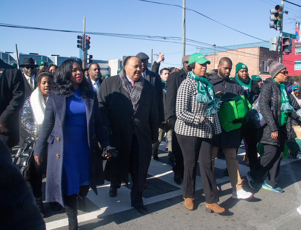 D.C. Mayor Muriel Bowser and Martin Luther King III, along with his wife and daughter, lead the 2020 King Parade on Martin Luther King Avenue in southeast D.C. on Jan. 20 (Shevry Lassiter/The Washington Informer)