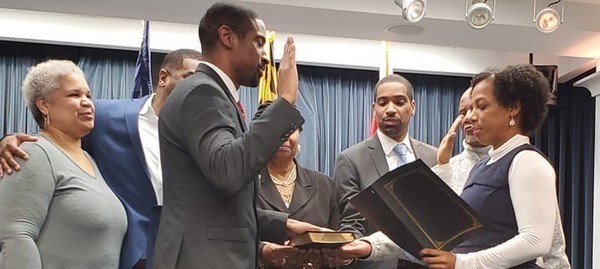 Bryan Swann was sworn in to fill the vacant District 4 seat on the Prince George's County Board of Education, following appointment by Prince George's County Executive Angela Alsobrooks. (PGC BOE photo)