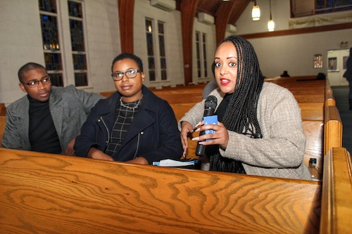 Yanet Amaneul, the public policy advocate at the ACLU of Maryland, speaks during a town hall meeting at Lanham United Methodist Church in Lanham, Maryland, on Jan. 20. (Brigette Squire/The Washington Informer)