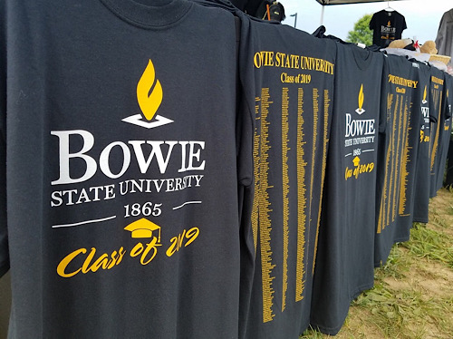 T-shirts from Bowie State University's 2019 commencement are shown here. (William J. Ford/The Washington Informer)