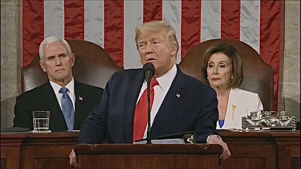 President Donald Trump delivers the State of the Union address at the U.S. Capitol in D.C. on Feb. 4 as Vice President Mike Pence (left) and House Speaker Nancy Pelosi look on.