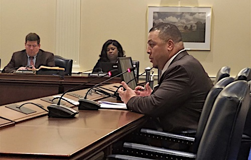 Maryland Del. Jay Walker testifies in favor of state legislation to make financial literacy a requirement for high school graduates. (William J. Ford/The Washington Informer)