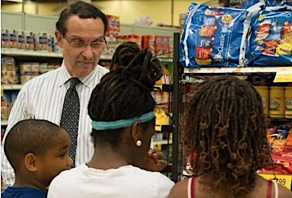 Ward 7 Council member Vincent Gray at a grocery store in Southeast (Courtesy of Gray's office)