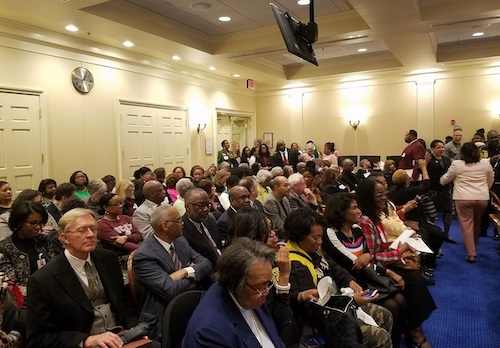 Dozens pack the House Appropriations Committee room in Annapolis on Feb. 25 to testify and show support of legislation that proposes to include $57.7 million annually to Maryland's four historically Black colleges and universities. (William J. Ford/The Washington Informer)