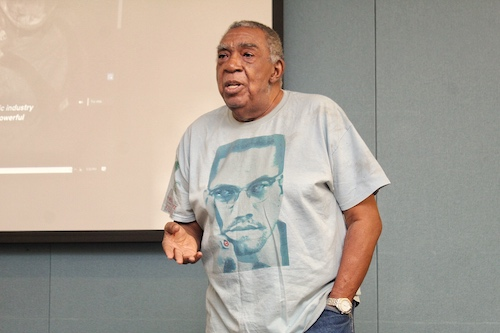 A. Peter Bailey, a founding member of Malcolm X's Organization for Afro-American Unity (OAAU), reflects on the contributions of Malcolm X during a conversation at the Watha T. Daniel/Shaw Library in northwest D.C. on Feb. 21. (Brigette Squire/The Washington Informer)