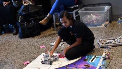 Leah Tadege, a fifth grader and National Society of Black Engineers (NSBE) junior, plays with engineering modules during Science, Technology, Engineering and Math (STEM) Day at the National Museum of African American History and Culture in D.C. on Feb. 22. (Anthony Tilghman/The Washington Informer)