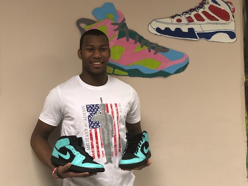 Derrick Griffin, a senior at Chesapeake Math and IT Academy, loves art and painting, head to toe, and as an entrepreneur, customizes his own sneakers. (PGCPS photo)