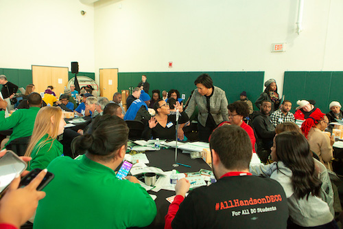 D.C. Mayor Muriel Bowser engages residents during a budget engagement forum at the Kenilworth Recreation Center in Northeast on Feb. 22. (Ulrich Fonou/The Washington Informer)