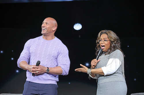 Dwayne Johnson and Oprah from Oprah's 2020 Vision Tour Atlanta Stop (Courtesy photo/WW George Burns)