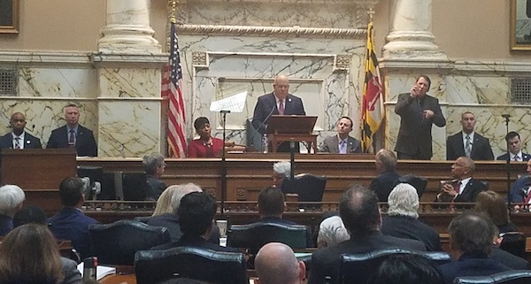 Maryland Gov. Larry Hogan (center) gives his sixth State of the State address in the House of Delegates chamber in Annapolis on Feb. 5. House Speaker Adrienne Jones (left) and Senate President Bill Ferguson sit at the dais to listen. (William J. Ford/The Washington Informer)