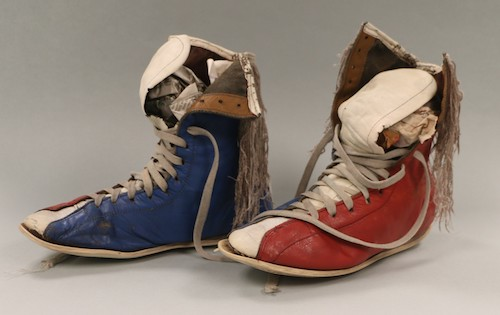 """Mark """"Too Sharp"""" Johnson donated this pair of custom made shoes. They have since been conserved and rehoused. (Photo by Smithsonian's Anacostia Community Museum)"""