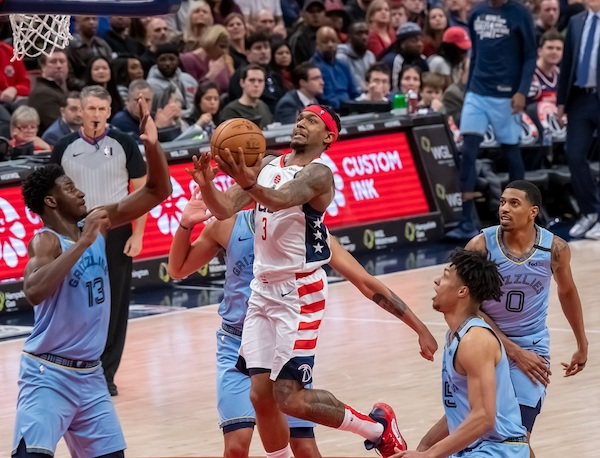 Washington Wizards guard Bradley Beal elevates for a layup attempt during the Wizards' 106-99 loss to the Memphis Grizzlies at Capital One Arena in D.C. on Feb. 10. (Courtesy of Yusuf Abdullah)