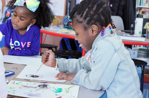 "As participants in the ""Intermission"" program, pre-K students can choose from a range of topics such as food, science, and animation to help them find inspiration to draw their own cartoons. (Courtesy of Inspired Teaching Demonstration PCS)"