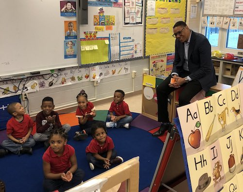 D.C. Public Schools Chancellor Lewis Ferebee visits Martin Luther King Jr. Elementary School in Southeast on Feb. 6. (Courtesy of Ferebee via Twitter)