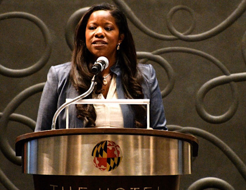 **FILE** Prince George's County State's Attorney Aisha Braveboy speaks during the State of Justice Symposium in College Park, Maryland, on Sept. 10, 2019. (Anthony Tilghman/The Washington Informer)