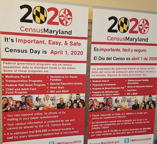Life-sized 2020 census posters placed March 13 inside the Maryland State House in Annapolis. President leaders in the General Assembly closed public access to all state buildings one day prior. (William J. Ford/The Washington Informer)