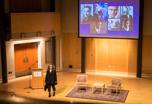 "Academy Award-winning costume designer Ruth E. Carter shows pictures of African influences she researched for ""Black Panther"" during the 2019-20 Arts & Humanities Dean's Lecture Series at The Clarice on the University of Maryland's College Park campus on Feb. 25. (Photo by Ulrich Fonou)"