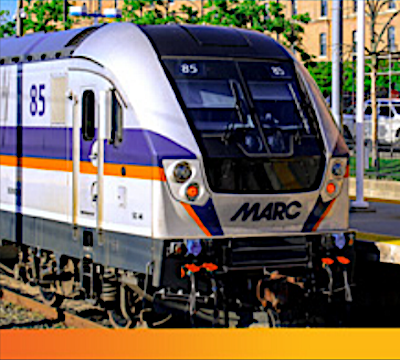 A MARC train is shown here. (Courtesy of Maryland Transit Administration)
