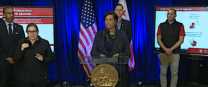 D.C. Mayor Muriel Bowser speaks during a March 20 press conference updating the city's response to the ongoing coronavirus pandemic.