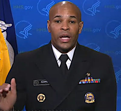 "U.S. Surgeon General Jerome Adams addresses the ongoing coronavirus pandemic during an appearance on ABC's ""Good Morning America"" on March 27."