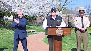 Maryland Gov. Larry Hogan holds a press conference in Annapolis on March 30 to announce a statewide stay-at-home order amid the global coronavirus pandemic.