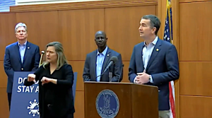 Virginia Gov. Ralph Northam holds a press conference on March 30 to announce a statewide stay-at-home order amid the global coronavirus pandemic.