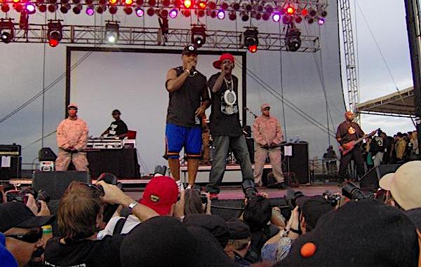 **FILE** Chuck D (left) and Flavor Flav of Public Enemy performs at the Vegoose music festival in Las Vegas on Oct. 27, 2007. (Brett Corkill via Wikimedia Commons)