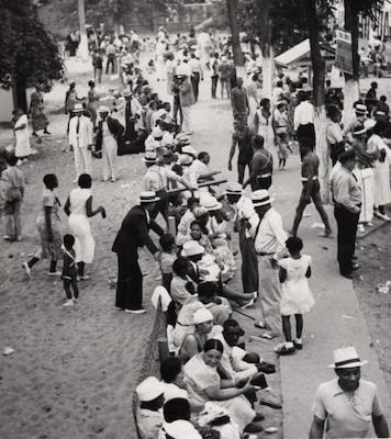 Blacks enjoy a day at the beach in segregated America. (Courtesy photo)