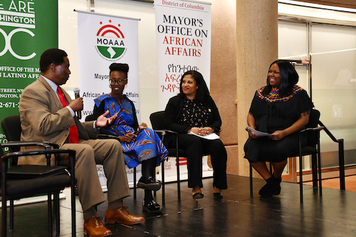 Ashley Emerson (right), director of the Mayor's Office on African American Affairs, moderates a Feb. 27 discussion for Communities in Conversation across the African Diaspora with panelists (from left) Mohamed Camara, Amy Yeboah and Ayana Lara Rockett. (Anthony Tilghman/The Washington Informer)