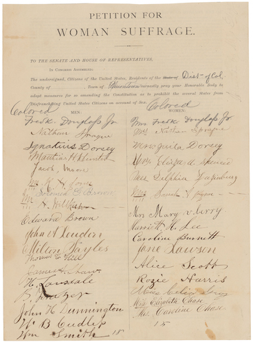 """1877 """"Petition for Woman Suffrage"""" signed by Elizabeth Chase, a Barry Farm/Hillsdale early settler (14th signature in """"Colored"""" Women column) (National Archives and Records Administration)"""