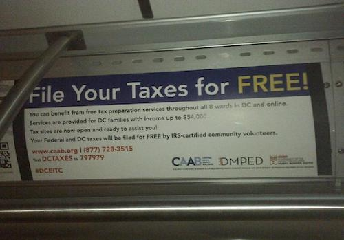 An ad placed on a Metrobus promotes free tax filings in D.C. (Courtesy of WMATA)