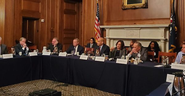 Sens. Kamala Harris and Cory Booker lead a March 11 roundtable discussion on Capitol Hill. (Courtesy of NNPA Newswire)
