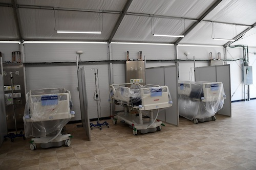 Adventist HealthCare Fort Washington Medical Center began to house coronavirus patients inside one of three tents on its site on April 18. (Anthony Tilghman/The Washington Informer)