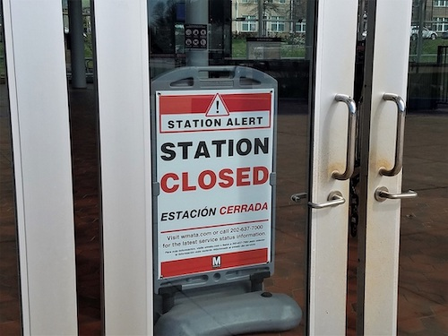Morgan Boulevard in Landover is one of 19 Metrorail stations closed during the coronavirus pandemic. (William J. Ford/The Washington Informer)