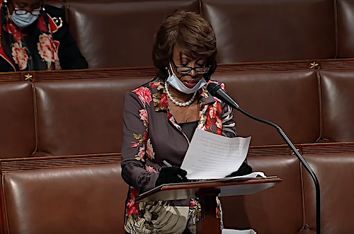 Rep. Maxine Waters (D-Calif.) speaks from the House floor at the U.S. Capitol in Washington, D.C., on April 23.