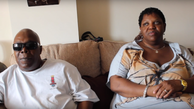 D.C. residents Larry Brown and Tawanda Lee discuss how they're coping during Mayor Muriel Bowser's COVID-19 social distancing order. (Screen grab courtesy of Columbia Lighthouse of the Blind)