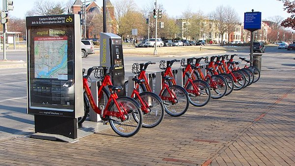 A Capital Bikeshare station outside the Eastern Market Metro station in D.C. (Ben Schumin via Wikimedia Commons)