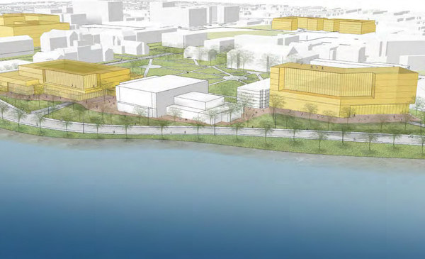 New construction massing in yellow, as seen from the reservoir (Rendering Courtesy of HU Planning Partners)