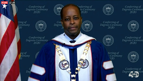 Howard University Wayne A.I. Frederick speaks during a virtual commencement ceremony for the 2020 graduating class on May 9.