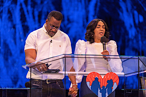 City of Praise Family Ministries Bishop Joel Peebles and Pastor Ylawnda Peebles have been preaching virtually from their cavernous sanctuary since coronavirus-related restrictions were put in place. (Courtesy of the City of Praise Family Ministries)