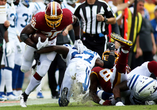 Washington Redskins running back Adrian Peterson is buying in on new head coach Ron Rivera and prepares for the 2020 campaign despite offseason challenges. (Daniel Kucin Jr./The Washington Informer)