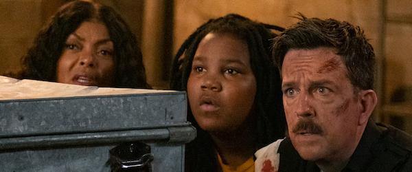 "From left: Taraji P. Henson, Terrence Little Gardenhigh and Ed Helms star in ""Coffee & Kareem."" (Courtesy of Netflix)"