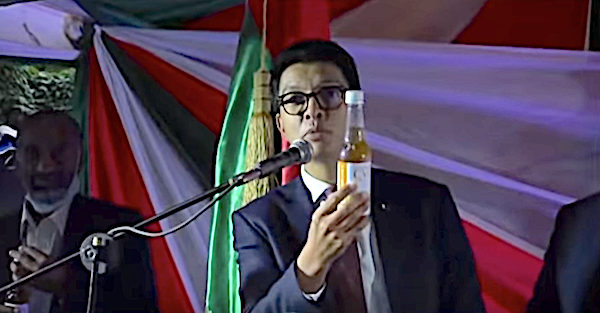 Madagascar President Andry Rajoelina speaks during an April 20 ceremony to launch Covid Organics.