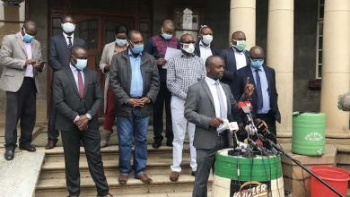 Kenyan health care workers demand better pay and benefits amid the COVID-19 pandemic on April 24. (Maureen Ojiambo/Urban News Service)