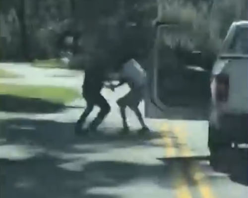 A screen shot of a video that purportedly shows the altercation between Black jogger Ahmaud Arbery and a white father and son that resulted in Arbery's shooting death